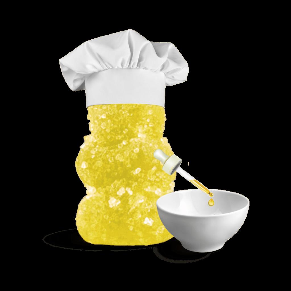 gummy bear with oil dropper